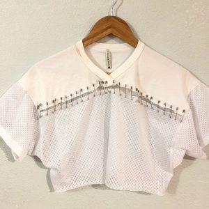 Tops - White mesh pin crop top